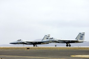 These F-15A Eagles ready for takeoff at US Naval Air Base  in Iceland.