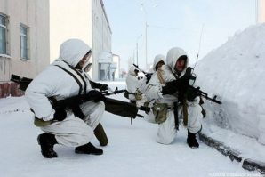 Russian airborne troops during Arctic war games in 2014.