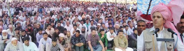 JK CM Omar Abdulla addressing Election rally