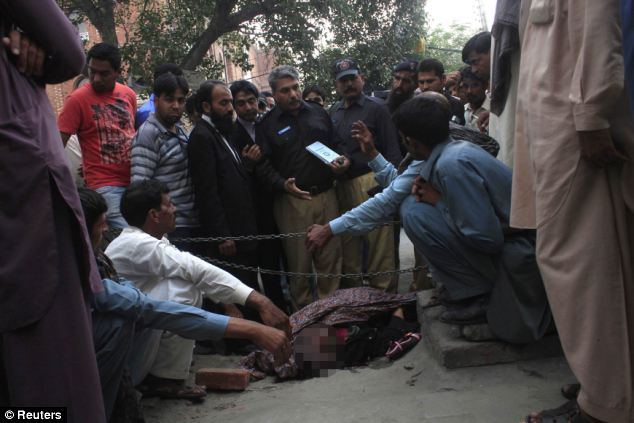 A victims body at Lahore high court Pakistan