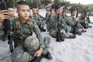 Young Philippine Marines prepare for war games sponsored by US.