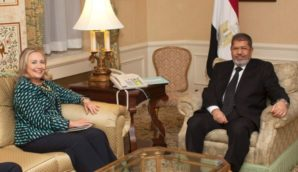 Hillery Clinton meets with then President Morsi of Egypt - a terrorist supporter of the Muslim Brotherhood.
