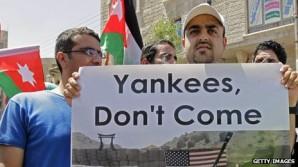 Protests have taken place in Amman against US troop deployment in Jordan.