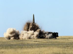 Russian Iskander-M missile launch vehicle during live firing military exercise in Moscow.