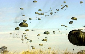 Russian paratroopers conduct massive air drop.