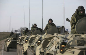Russian troops near border with Ukraine.