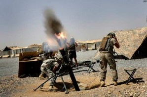 "US troops relentlessly ""hammer"" enemy positions using mortars."