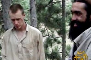 """Sgt. Bergdahl with evidence  showing he was hit or beaten on this """"proof of life"""" video  which aired on Al-Jazzera TV last year.  Now he is being hunted at home by angry people who want him prosecuted for leaving his post in the first place? This has culminated in unspecified threat made against his parents in Idaho - the FBI is investigating!"""