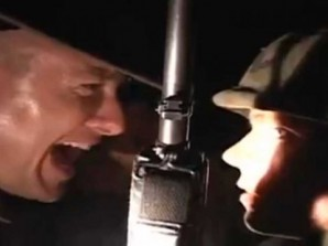 Drill instructor screams at recruit at Camp Lejeune, N.C. in the 1980's. Unknown to either of them at the time  they were drinking contaminated water.