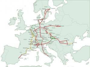 Map of European multi billion dollar infrastructure railway freight improvement project - it will give Europe a competitive advantage over US business interests. Pentagon refused to discuss how much and where European Infrastructure improvement funds will be spend. In this case if were not helping fund the railway project we are certainly subsidizing Europe for it? Meanwhile the US operates on a 60 year old railroad system that is plagued with problems. Not to mention US transporation infrastructure which has crumbling bridges, pot marked roads, and chronic airport delays?  Thats your money America