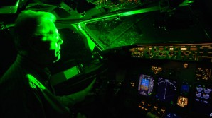 Aircraft cockpit illuminated by green laser light can blind or spellbind a pilot.