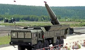 Iskander-M (NATO reporting name SS-26 Stone) nuclear capable missile system on display near Moscow.