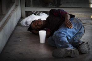 Homeless man with serious mental illness, undiagnosed sleep near 15th avenue and Van Buren in Phoenix, Arizona.