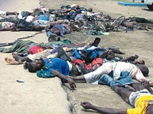 Slaughtered victims of Boko Haram in Nigeria.