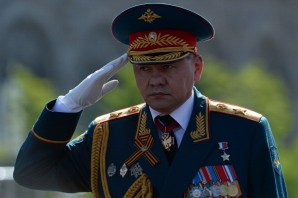 Russian Defence Minister Sergei Shoigu makes the military salute at the Red Square in Moscow, on May  9, 2014, during a Victory Day parade. Thousands of Russian troops marched today in Red Square to mark 69 years since victory in World War II in a show of military might amid tensions in Ukraine following Moscow's annexation of Crimea.