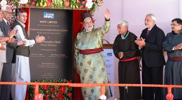 PM Narindra Modi inaugurating Nemo-Bazgo Power Project at Leh