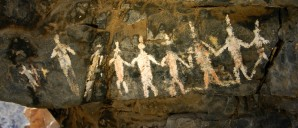 Native American Petroglyph estimated to be well over 2000 years old, depicting a form of the circle dance.