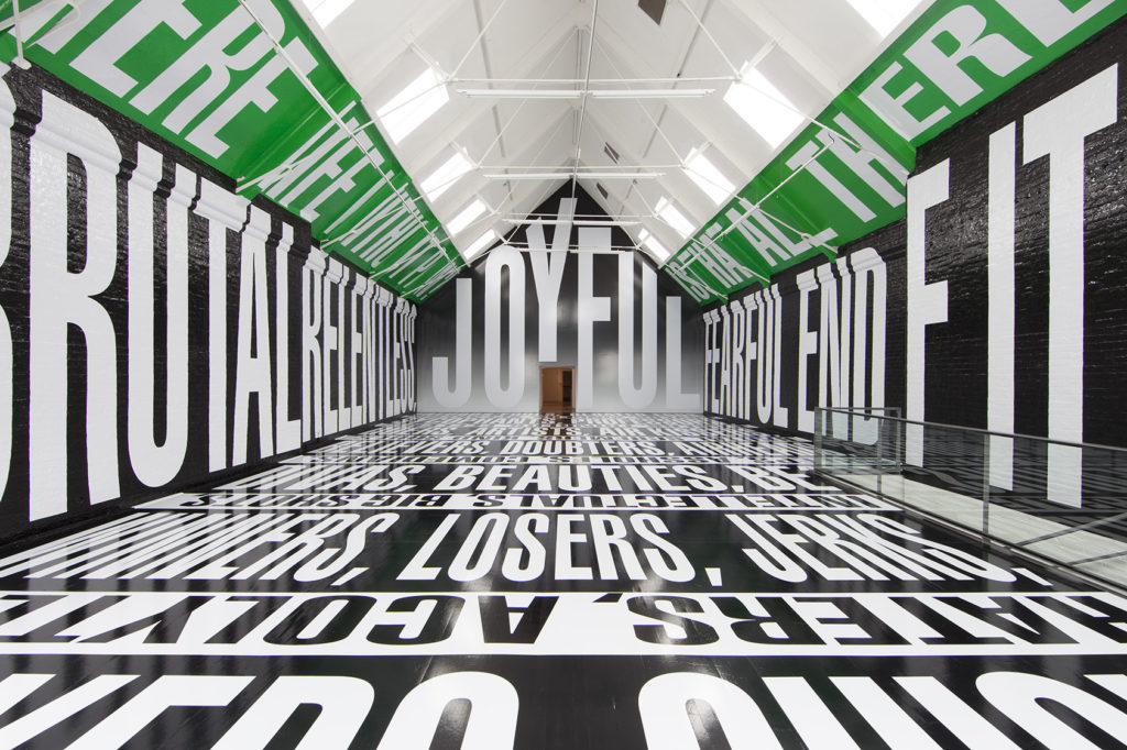 """Barbara Kruger, """"Untitled (Titled)"""", 2014, Installation view, Modern Art Oxford (Upper Gallery) (© Barbara Kruger, Photograph Courtesy of Sprüth Magers Berlin London)"""
