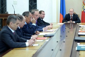 Putin meets with members of the Security Council at the Kremlin.