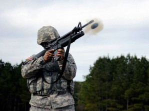 SAGM Grenade launcher demo. Picture courtesy of the US Army.