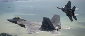 US f-22 Stealth fighters prowl the skies of Iraq an Syria.