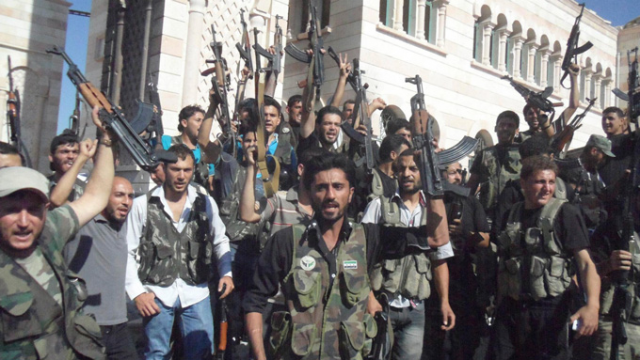 Syrian rebels after capturing a city