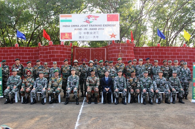 Lt Gen K Surendranath, Chief of Staff Southern Command and Lt Gen Zhou Xiaozhou Chief of Staff CHengdu Military Region with the Observer Groups at the Closing Ceremony of Exercise Hand in Hand