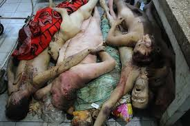 Bodies of civilians killed by Ukrainian troops in violation of the Geneva Convention.