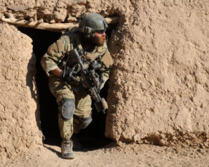 US Special Forces soldier hunting down Al-Qaeda fighters in Afghanistan.