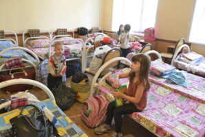 Ukrainian refugees - probably orphans in camp in Russia.