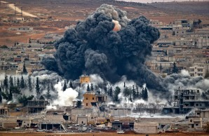 Massive air strike on a ISIS command and control center in Kobani, Syria.