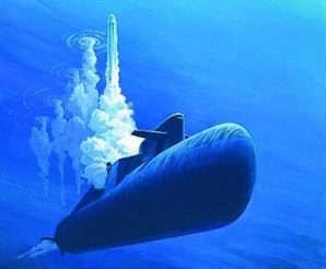 Chinese sub firing new Sea Launched Nuclear Missiles. Artist rendition.