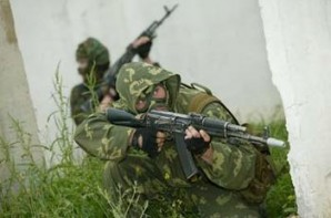 "US bases are scattered around the globe – and you're telling me Russia is behaving aggressively? Do you have any common sense at all? What are US armed forces doing in Europe, also with tactical nuclear weapons? What are they doing there?"", says Putin. Pictured here: Elite Russian special forces  on military training exercise 2014."