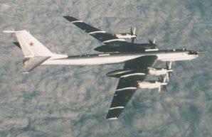 "The Tupolev Tu-95 (Russian: Туполев Ту-95; NATO reporting name: ""Bear"") in flight circa 2000s."