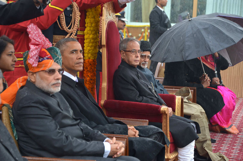 The President, Mr. Pranab Mukherjee, the Prime Minister, Mr. Narendra Modi and the Chief Guest US President, Mr. Barack Obama witnessing the 66th Republic Day Parade 2015, in New Delhi on January 26, 2015.