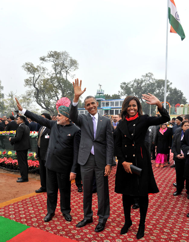 The Prime Minister, Mr. Narendra Modi with the US President, Mr. Barack Obama and the First Lady Ms. Michelle Obama on the Raj Path, at the 66th Republic Day Parade 2015, in New Delhi on January 26, 2015.