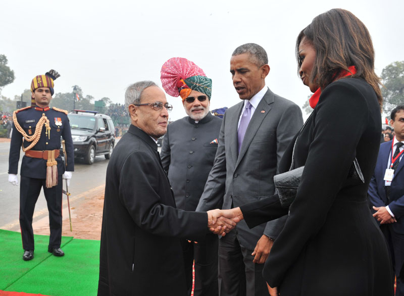 The President, Mr. Pranab Mukherjee arrives at Raj Path, meets the US President, Mr. Barack Obama and the First Lady Ms. Michelle Obama, at the 66th Republic Day Parade 2015, in New Delhi on January 26, 2015. The Prime Minister, Shri Narendra Modi is also seen.