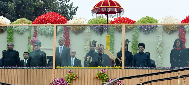 The President, Mr. Pranab Mukherjee, the Chief Guest US President, Mr. Barack Obama, the First Lady Ms. Michelle Obama, the Vice President, Mr. Mohd. Hamid Ansari, the Prime Minister, Mr. Narendra Modi and the Union Minister for Defence, Mr. Manohar Parrikar  at the Saluting dais, on the occasion of the 66th Republic Day Parade 2015, in New Delhi on January 26, 2015.