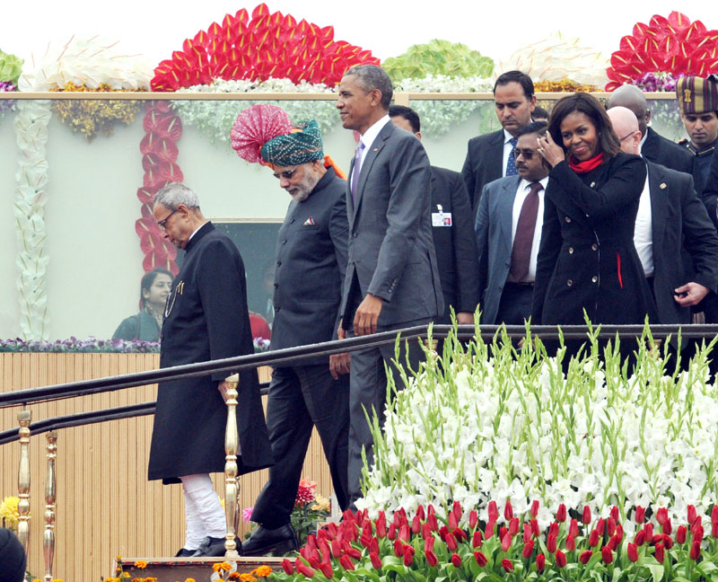 The President, Mr. Pranab Mukherjee, the Chief Guest US President, Mr. Barack Obama, the First Lady Ms. Michelle Obama and the Prime Minister, Mr. Narendra Modi returning after witnessing the 66th Republic Day Parade 2015, in New Delhi on January 26, 2015.