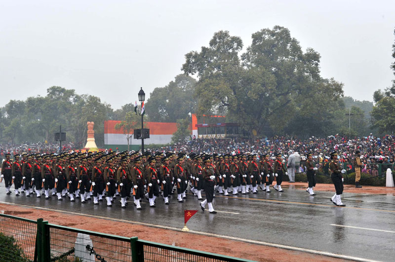 The Women Officers contingent passes through the Rajpath during the 66th Republic Day Parade 2015, in New Delhi on January 26, 2015.