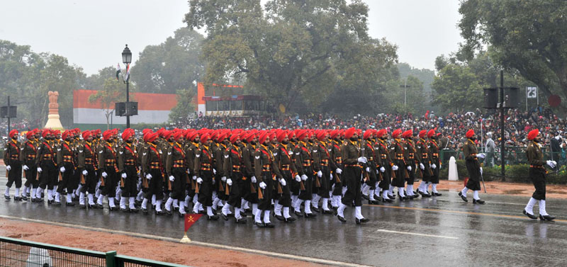The Sikh Regiment marching contingents pass through the Rajpath during the 66th Republic Day Parade 2015, in New Delhi on January 26, 2015.