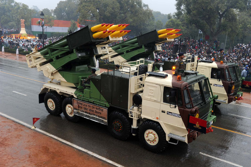 Pinaka 214 MM Multiple Barrel Rocket Launcher System passes through the Rajpath during the 66thRepublic Day Parade 2015, in New Delhi on January 26, 2015.