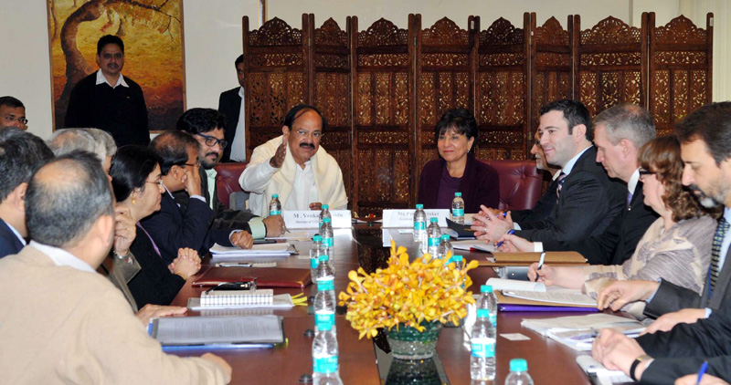 The Union Minister for Urban Development, Housing and Urban Poverty Alleviation and Parliamentary Affairs, Mr. M. Venkaiah Naidu at a delegation level meeting with the US Secretary of Commerce, Ms. Penny Pritzker, in New Delhi on January 27, 2015. The Minister of State for Urban Development, Housing and Urban Poverty Alleviation, Mr. Babul Supriyo is also seen.