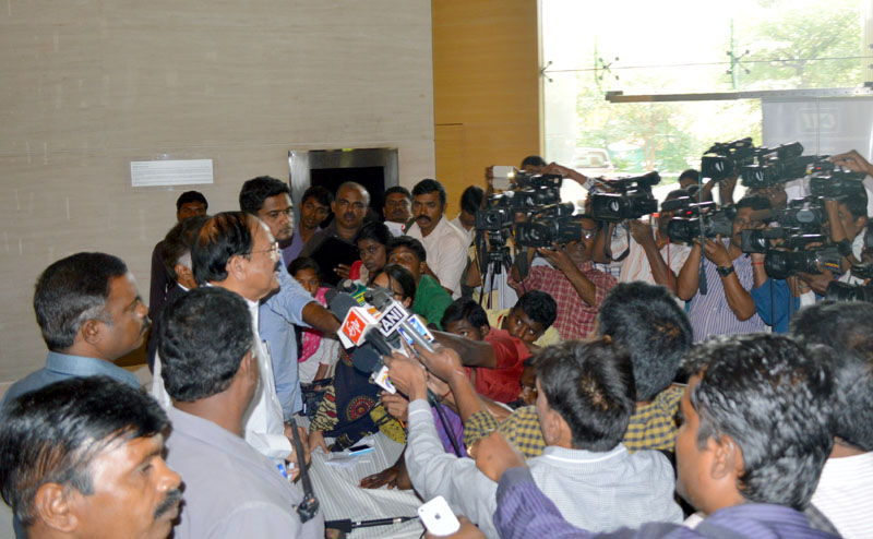 """The Union Minister for Housing, Parliament Affairs and Urban Poverty Alleviation Mr. M. Venkaiah Naidu interacting with the media on """"Tamil Nadu Smart Cities initiatives"""" organised by the Confederation of Indian Industry, in Chennai on January 29, 2015."""