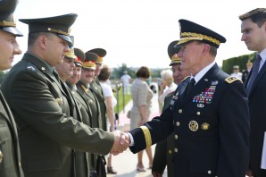 Chief of General Staff of the Armed Forces of Russia Gen. Nikolai Makarov introduces his staff to the Chairman of the Joint Chiefs of Staff Gen. Martin E. Dempsey for a Full Honors Cordon at the Pentagon in Washington DC, Jul. 12, 2012.   DOD photo by D. Myles Cullen