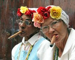 Cuban cigar smoking women in Havana.