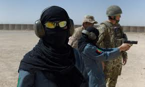 US training Afghan women police officers in 2014.