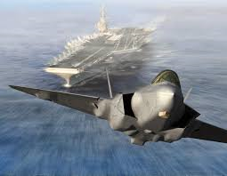F-35 Joint Strike Fighter takes off from an air craft carrier somewhere in the Atlantic ocean.
