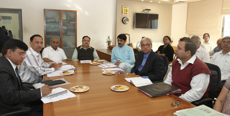 The Union Minister for Health & Family Welfare, Mr. Jagat Prakash Nadda at a high level meeting to discuss swine flu and other health issues, in Ahmadabad, Gujarat on February 10, 2015. The Health Minister, Gujarat, Mr. Nitinbhai Pateland and senior officers of Gujarat are also seen.