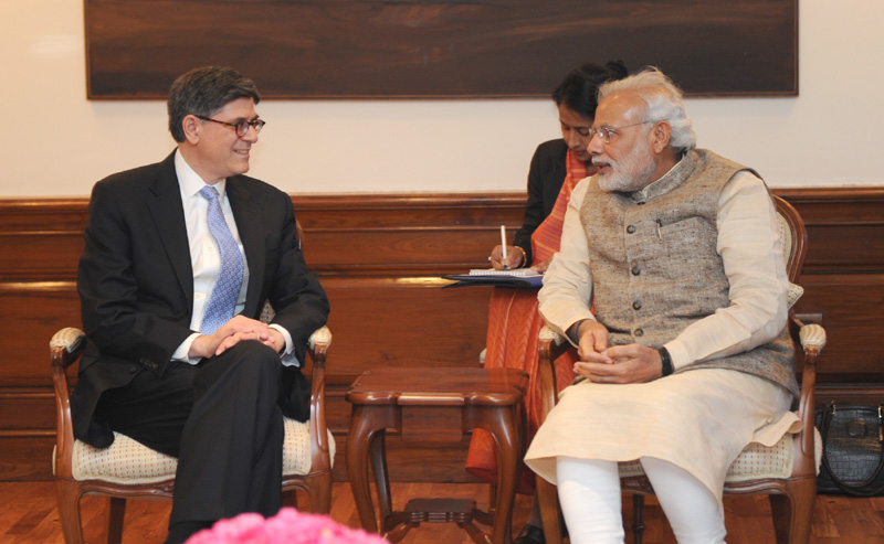 The Treasury Secretary of the United States, Mr. Jacob Lew calling on the Prime Minister, Mr.  Narendra Modi, in New Delhi on February 12, 2015.